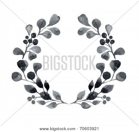 Watercolor floral oval wreath with leaves and berries