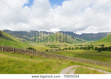 View of Langdale Valley Lake District Cumbria on walk to Blea Tarn from campsite Old Dungeon Ghyll