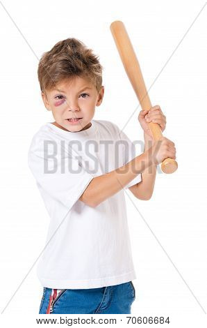 Portrait of boy with bruise and wooden baseball bat, isolated on white background poster