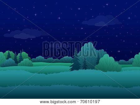 Seamless background, night landscape