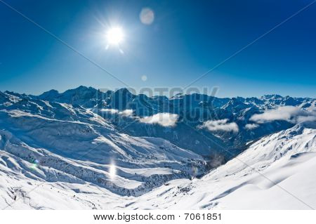 Panorama of winter mountains Ski resort in French alps poster