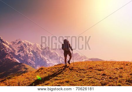 hiking in  mountains