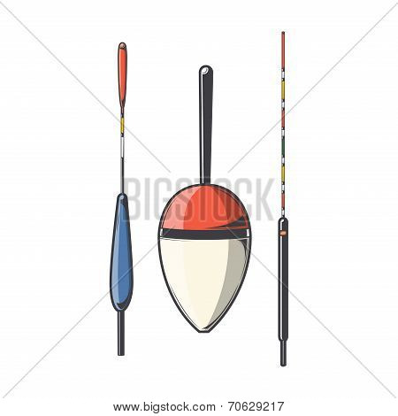 Set Of Fishing Floats Isolated On A White Background. Color Line Art. Modern Design. Vector Illustra