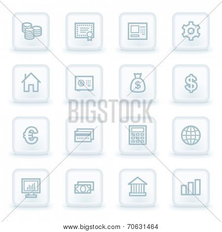 Money  web icons,  white square buttons