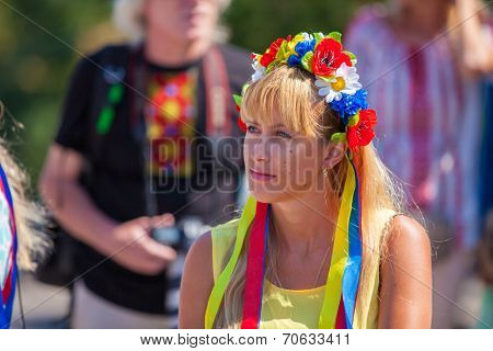 ODESSA, UKRAINE - August 23: Flash mob in city of Odessa on Potemkin Stairs on August 23, 2014, in day of a national flag of Ukraine. Happy participants of summer Flash mob/
