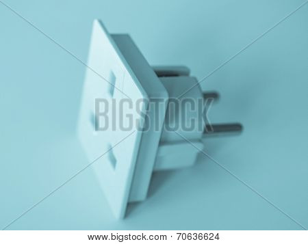 BS 1363 Standard British power Plug Socket - cool cyanotype poster
