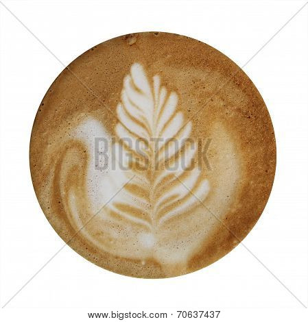 poster of Closeup up of coffee latte foam with leaf design art isolated on a white background viewed from top.