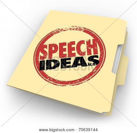 Speech Ideas words in a red round stamp on a manila folder to illustrate tips, advice, suggestions and other information to help you in your public speaking engagement