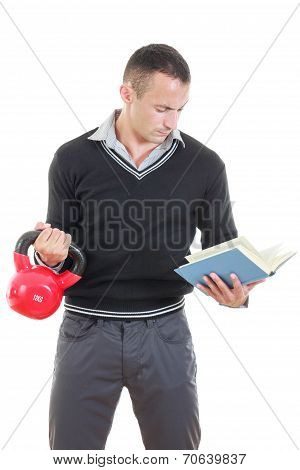 Business Man In Black Sweater With Shirt And Pants Lifting Red Dubell With One Hand