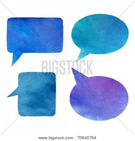 set of handmade watercolor speech bubbles