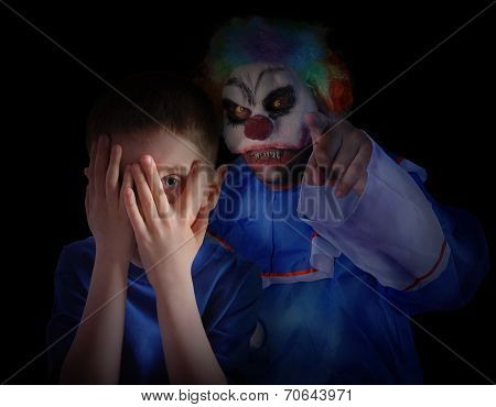 Dark Scary Clown Looking At Little Child