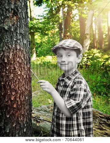 Black And White Boy Painting Forest Color