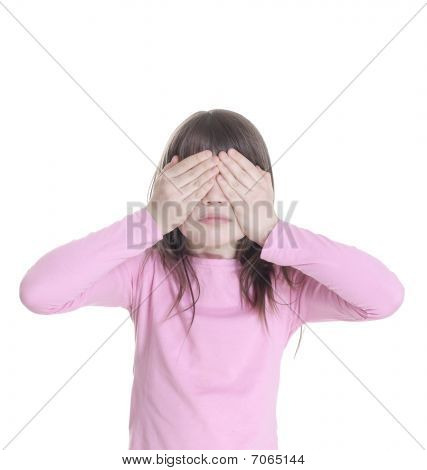 The Little Girl Has Closed Eyes Hands