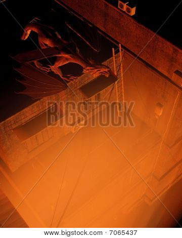 poster of Digital render of a dragon keeping watch above the city streets at night, flame colored lighting