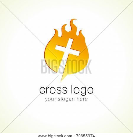 Cross on fire christian church logo. Vector icon for churches, christian organizations, bible colleges and conferences.
