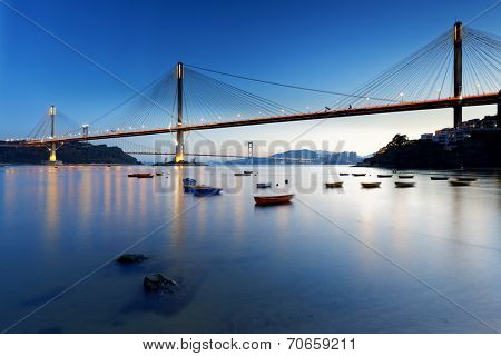 highway bridge, hong kong at night poster