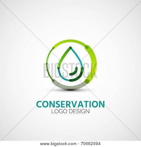 water conservation company logo design, business symbol concept, minimal line design poster