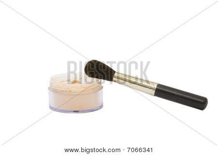 Opened Make-up Powder Jar With Brush