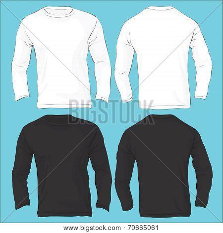 Men's Long Sleeved T-shirt Template, Black White