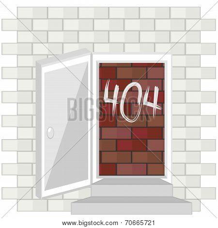 Error 404 Concept With Blocked Door