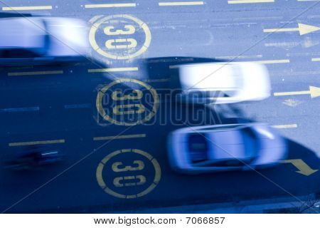 cars in the street at velocity limit