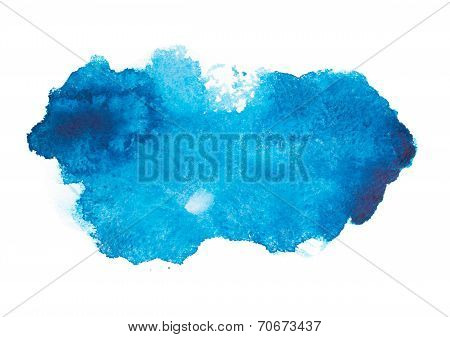 Blue colorful abstract hand draw watercolour aquarelle art paint splatter stain on white background
