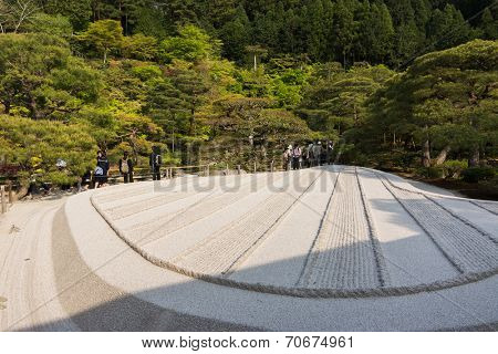 KYOTO, JAPAN - APRIL 26th : With white sand landscape in Karesansui of Japanese garden in Ginkakuji Temple, Kyoto, Japan on 26th April 2014.
