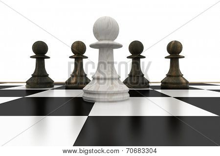 White pawn in front of black pawns on white background