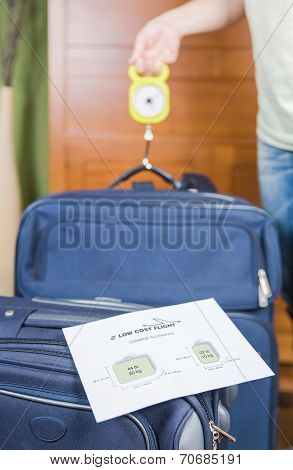 Woman checking hand luggage weight using a steelyard balance by low cost airlines restrictions poster