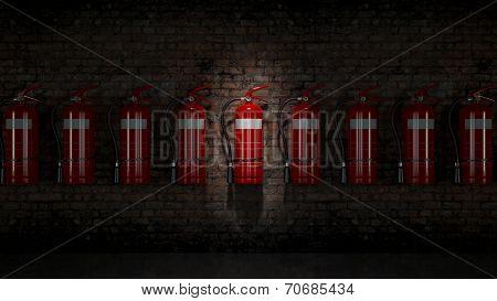 Extinguisher fixed on brick wall