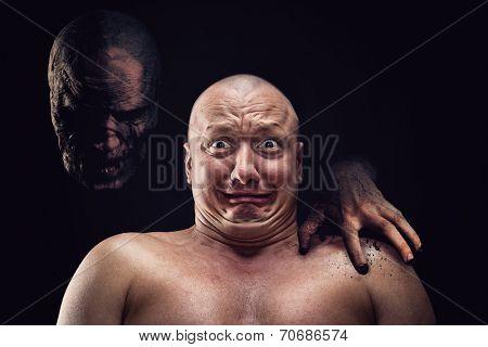 Portrait of bald scared man