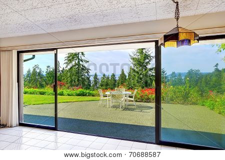 Walkout Basement From Living Room Overlooking Beautiful View