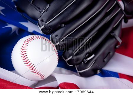 Baseball arrange on studio plan. Studio shot, American sport poster