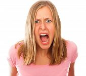 Angry stressful young woman shouting out loud. poster