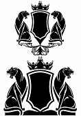 black panther coat of arms emblem - royal crown over shield and wild animals vector design over white poster