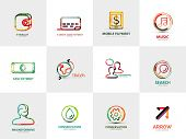 collection of 12 company logos, business concepts. Wallet credit card mobile payment music cash travel coworking search brainstorming gear water conservation arrow gear cog poster