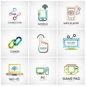 Set of various company logos, business icons. Connection chain mobile phone mp3 player click hand finger pointer tv set wifi pc laptop gamepad poster