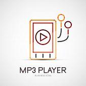 mp3 player company logo design, business symbol concept, minimal line style poster