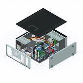 isometric personal computer vector illustration with some peripherals on motherboard poster