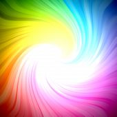An abstract sparkling rainbow colors light burst swirl background poster