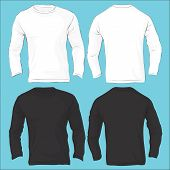 Vector illustration of men's long sleeved t-shirt template isolated on white front and back design poster