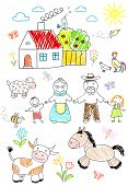 Sketch - happy children with grandparents poster