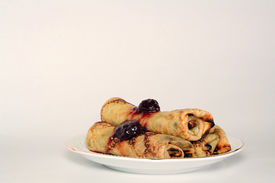 Rolled Pancakes With Strawberry Jam
