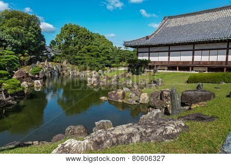 Japanese Garden at Nijo Castle in Kyoto Japan