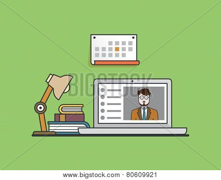 Flat Concept Of E-learning. Mobile Education By Laptop