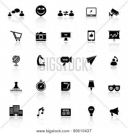 Media Marketing Icons With Reflect On White Background