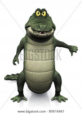 Cartoon Crocodile Doing A Thumbs Down.