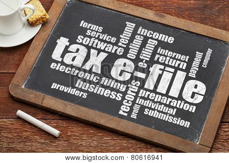 tax electronic filing concept - a word cloud on a vintage slate blackboard with a cup of coffee