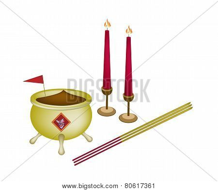 Chinese Cultural Joss Stick Pots or Chinese Incense Burner with Joss Sticks Red Flag and Burning Candles. poster