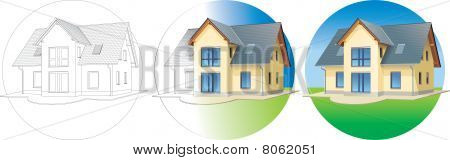 House in 3 stages - planning, building, ready - concept vector illustration